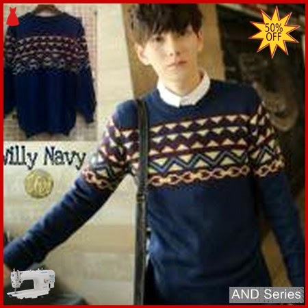 AND417 Sweater Pria Willy Biru Navy BMGShop
