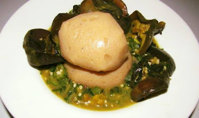 raw blender plantain fufu served with snail okra soup