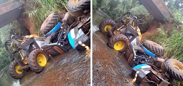 Roncador: Trator fica destruído após cair de ponte no Rio das Barras