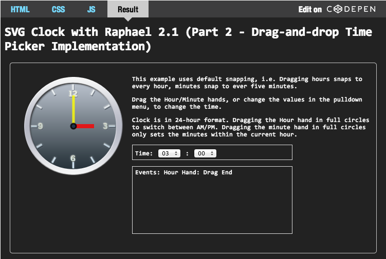 SVG Clock with Raphael 2 1 (Part 2 - Drag-and-drop Time