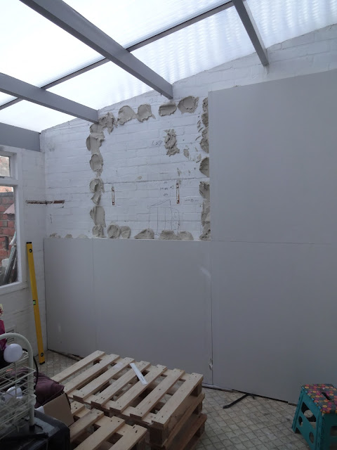 plasterboarding the conservatory