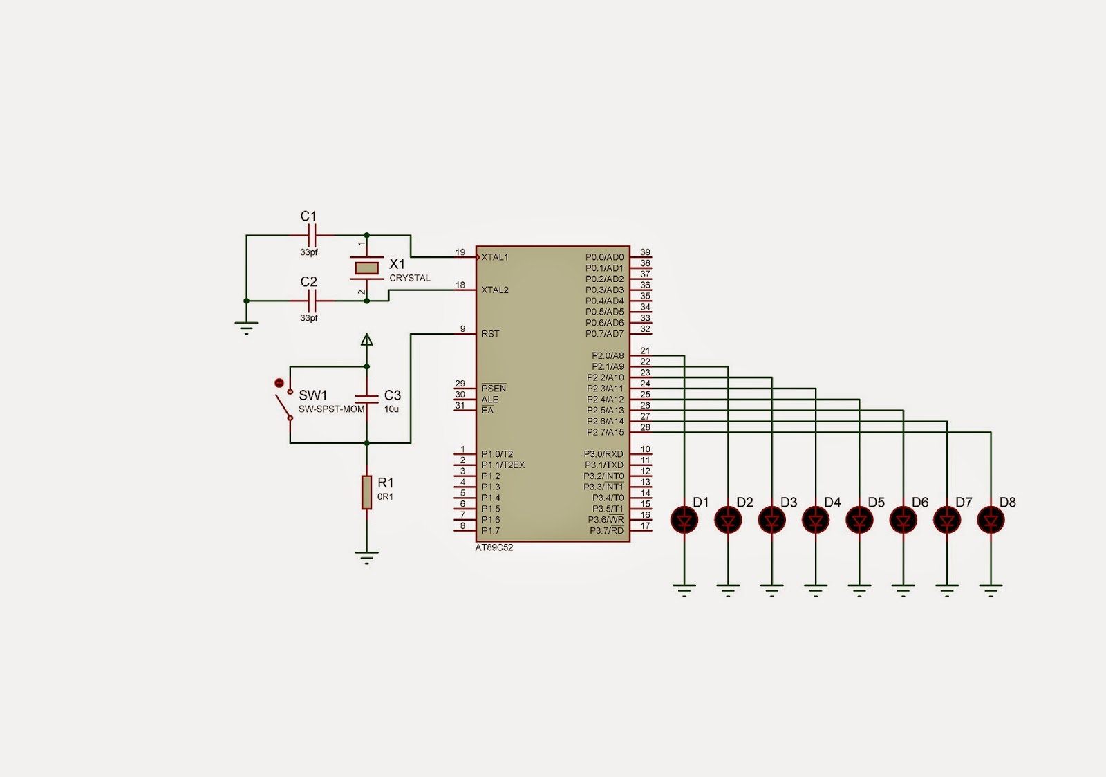 Electronics Guru Led Chaser Using 8051 Circuit Diagram For More Information About Micro Controller You Can See The Data Sheet Now Design When Crystal Oscillator And Reset Button In