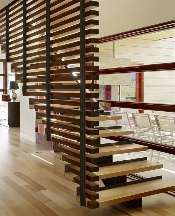 modern room divider ideas 2018, wooden staircase design