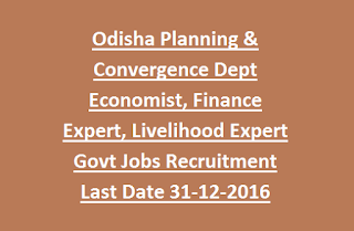 Odisha Planning & Convergence Department Economist, Finance Expert, Livelihood Expert Govt Jobs Recruitment 2016 Last Date 31-12-2016