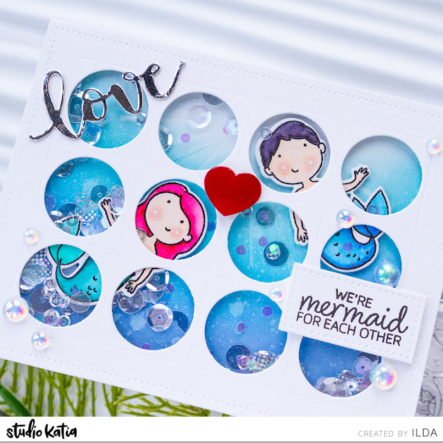 Mermaid for Each Other Valentine Shaker Card for Studio Katia by ilovedoingallthingscrafty.com