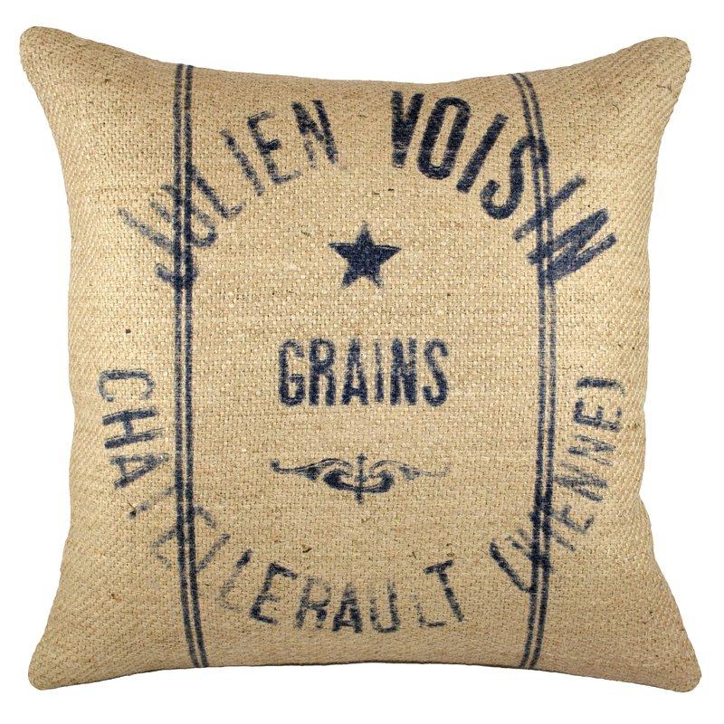 Burlap Grain Sack Pillow