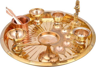 MA DESIGN HUT Brass Pooja Thali with Diya, Agardaan, Puja Kalash and Aarti Bell - Set of 8