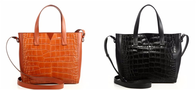 Vince Signature V Baby Crocodile-Embossed Leather & Smooth Leather Tote $134 (reg $445)