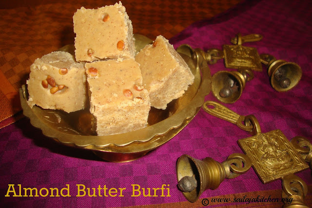 images of Almond Butter Burfi / Roasted Almond Butter Burfi / Almond Butter Barfi