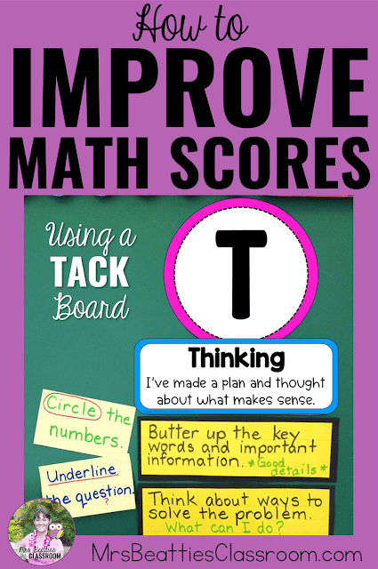 "Photo of the Thinking section of a TACK Board with text, ""How to Improve Math Scores Using a TACK Board."""