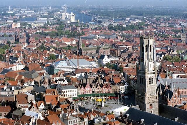 Vista de Bruges - Bélgica - Europa - Belfroi - Grand Place - Moinhos, Canais