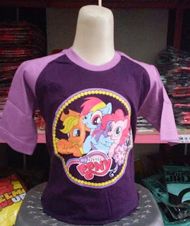 Kaos Raglan Anak Karakter My Little Pony 3 Ungu Tua