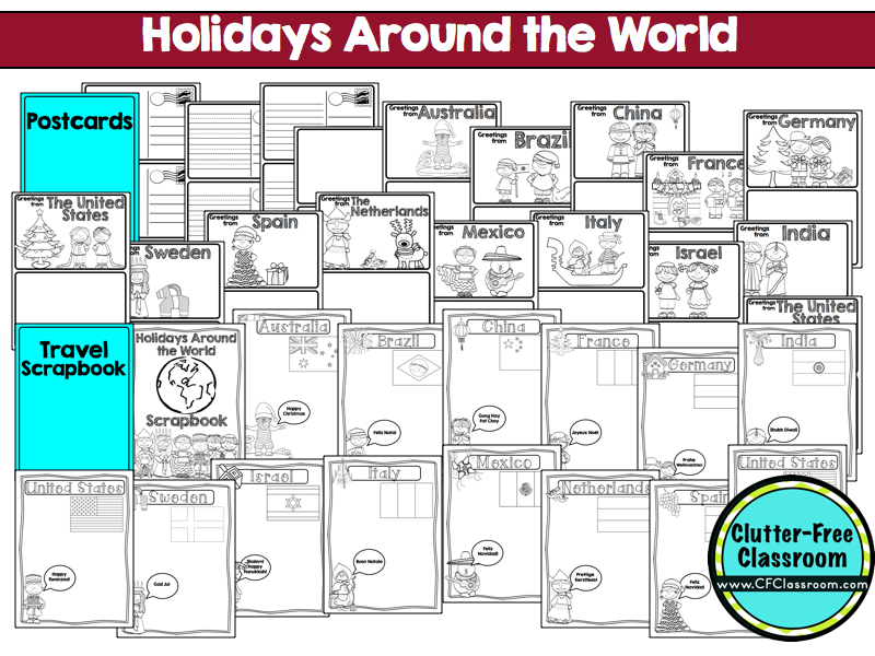 Free Color Pages For Christmas Around The World: Free, holidays ...