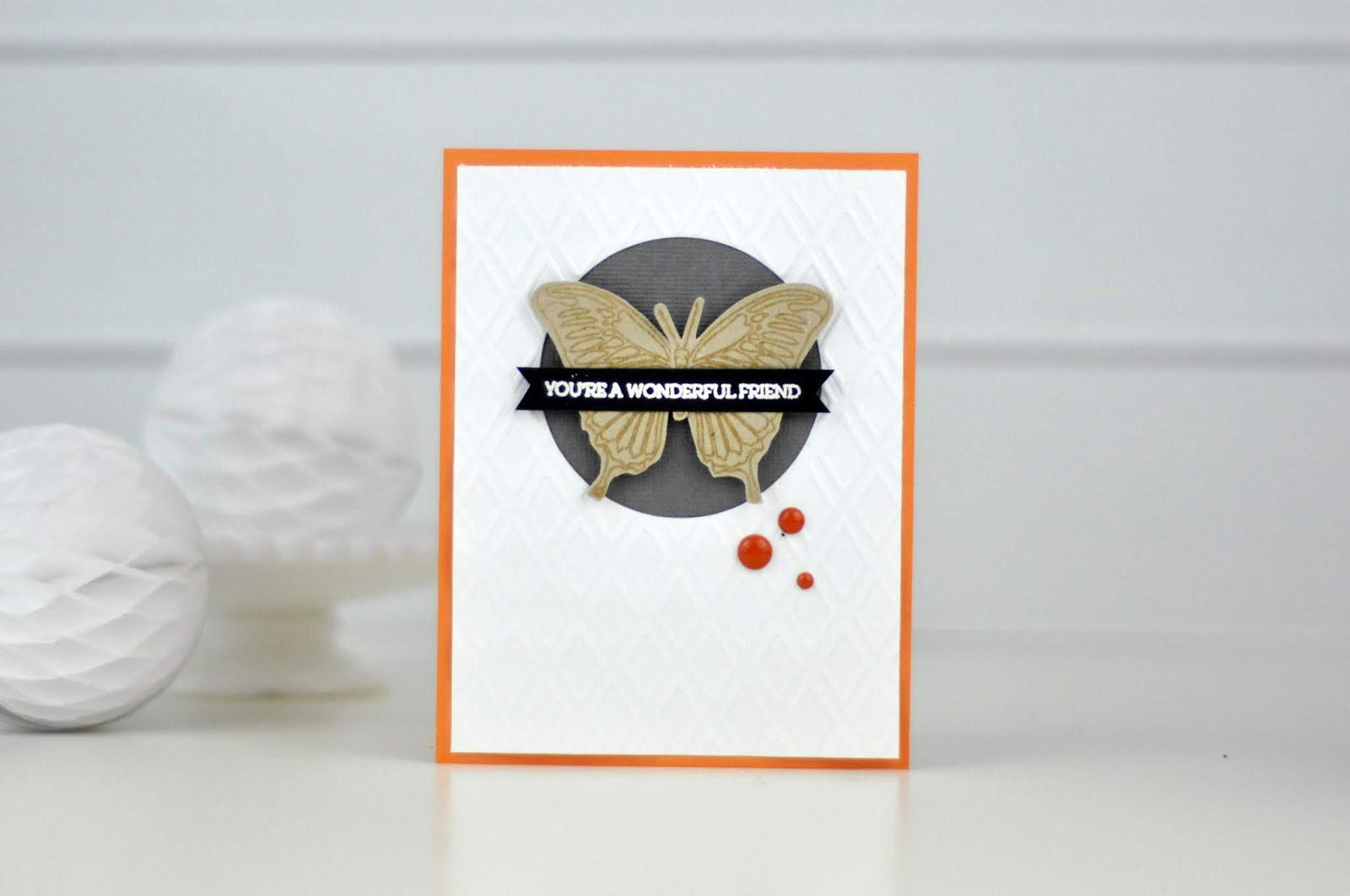 SCT Delivered Butterfly Friendship Card Set by Jen Gallacher for Scrapbook and Cards Today Magazine. Embossing powder, repetitive stamping, and embossing folders are used on these friendship cards.