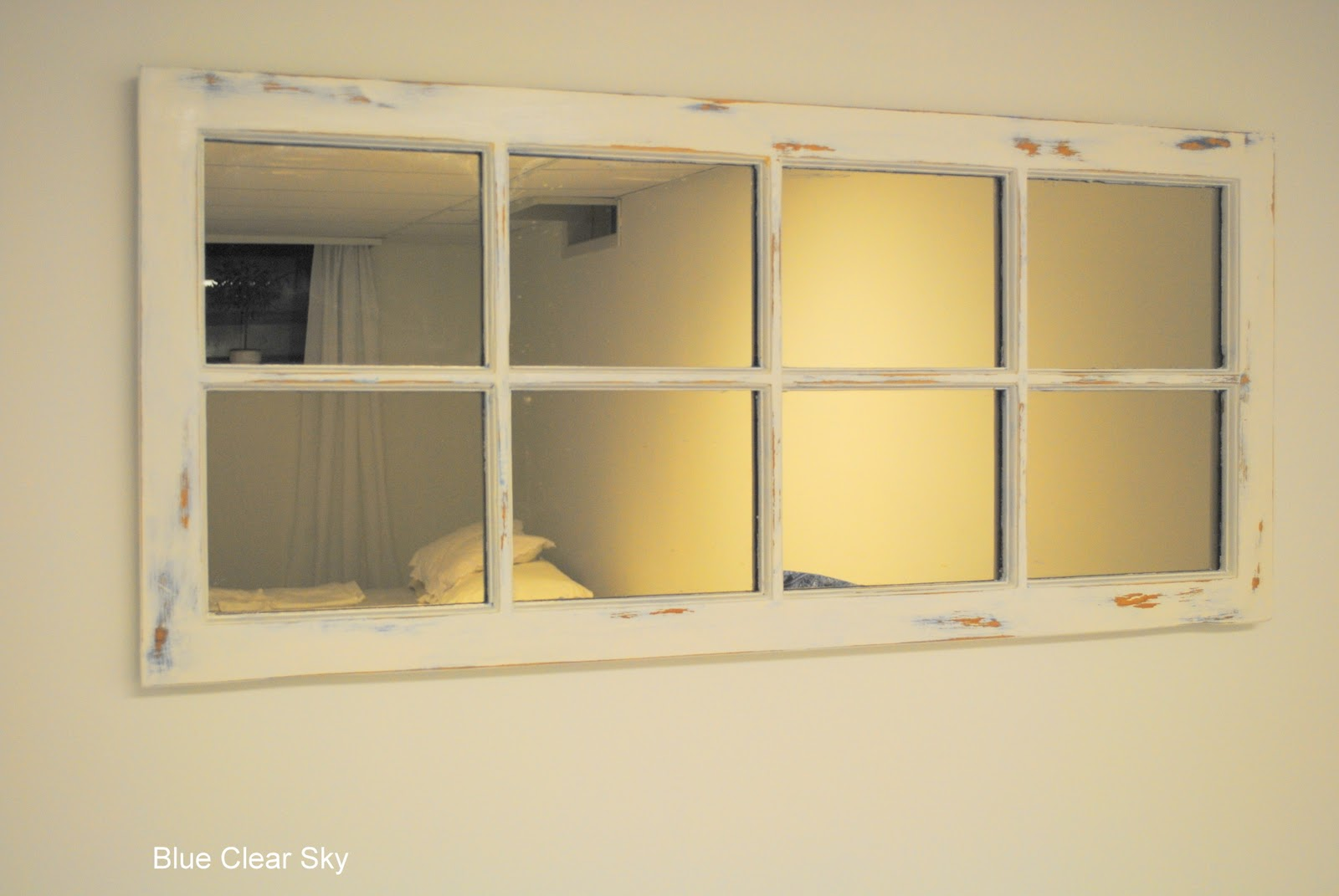Rustic Maple: Pine Window Frame Mirror Makeover