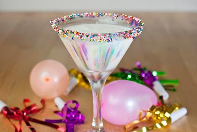 happy birthday tini, cake vodka, white creme de cacao, amaretto, Godiva white chocolate liqueur