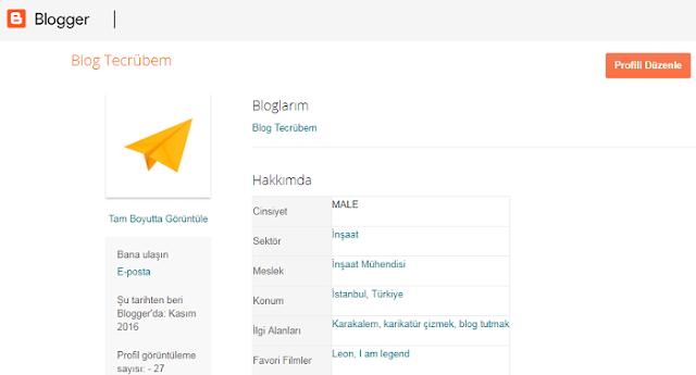 Blogger profil sayfası