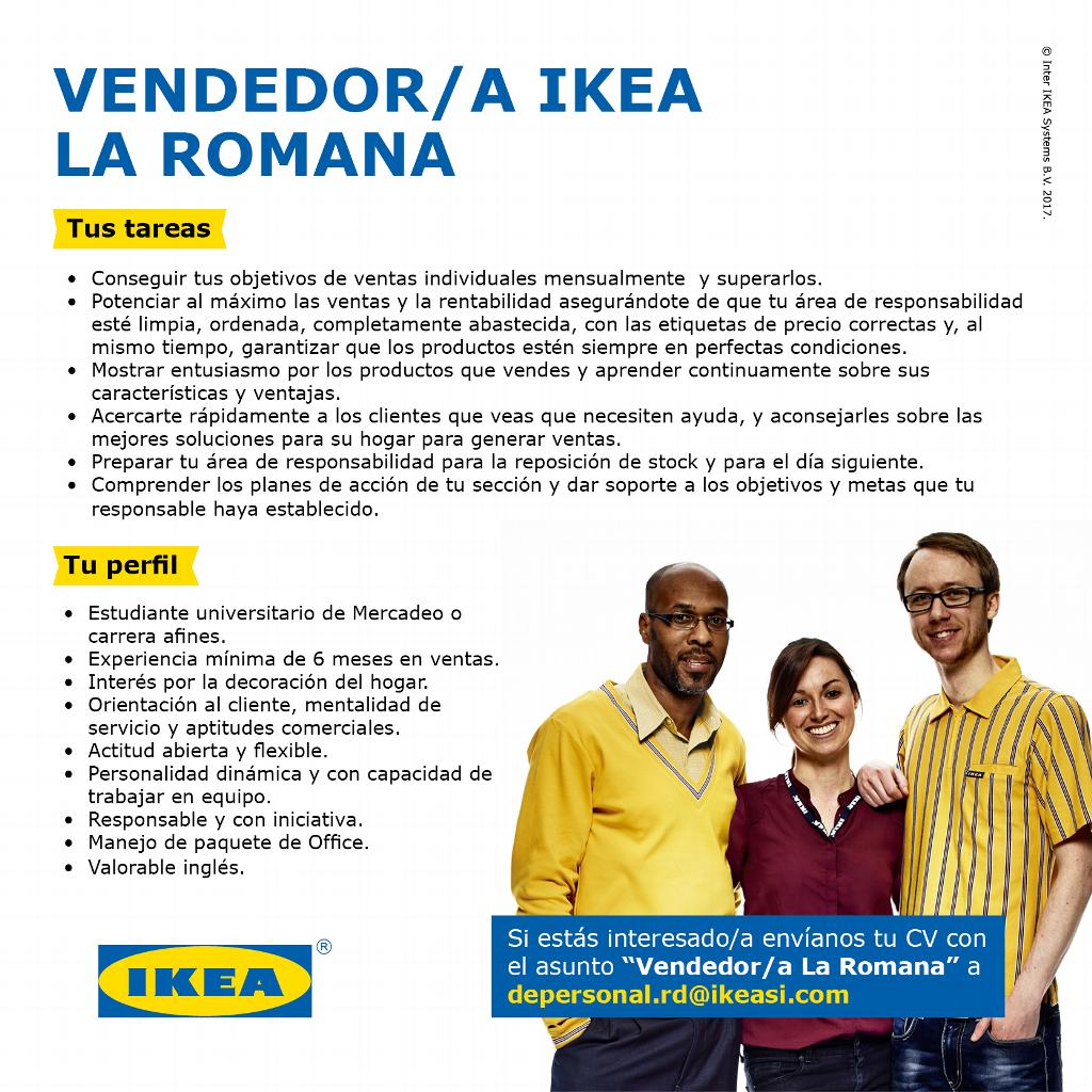 en ikea buscamos un vendedor para el punto ikea la romana si cuentas con experiencia en el rea de ventas y con los dems requisitos envanos tu cv a