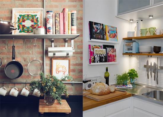 cozinha com prateleira livros de receita expostos