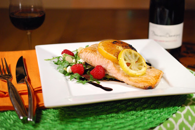 Domaine Chardigny Saint-Amour with Roasted Citrus Salmon with Raspberry and Goat Cheese Salad; Photo Credit :Greg Hudson