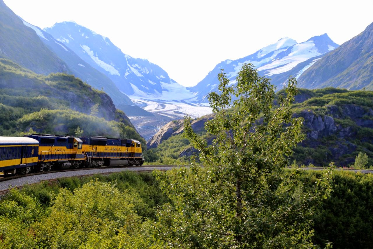 The Alaskan Railway train on the way to Seward, Alaska
