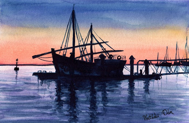 Portuguese Fishing Boat watercolor painting by Dora Hathazi Mendes