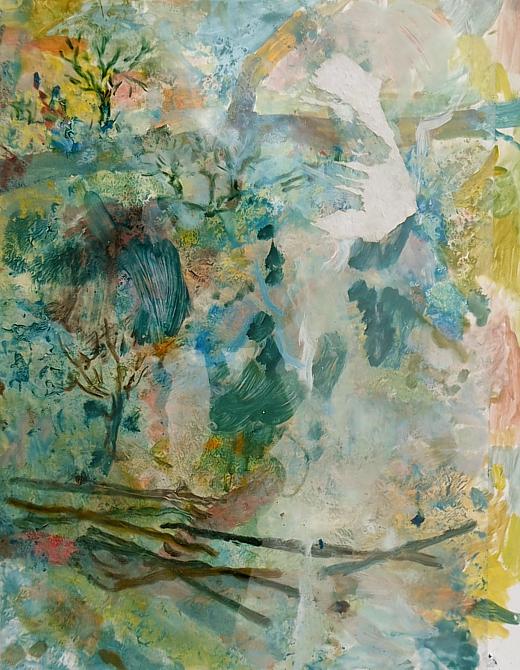 """2009 """"Die Eisheiligen"""" (Oel hinter Folie gemalt)"""