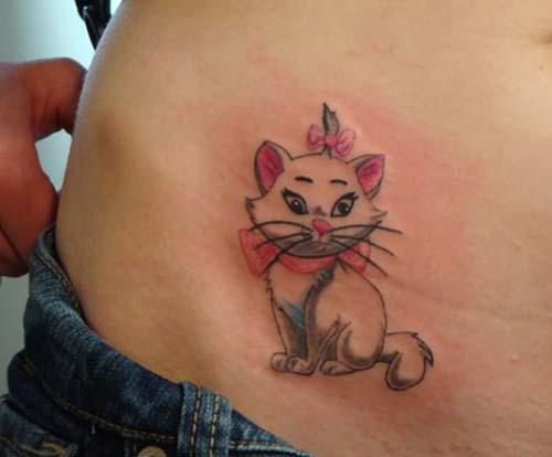 küçük dişi kedi dövmesi girly cat tattoo