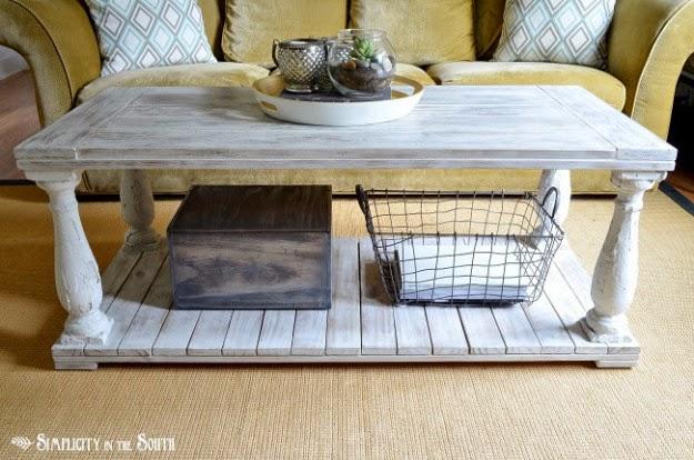 Restoration Hardware knock off salvaged wood balustrade coffee table tutorial. Balustrade Salvaged Wood Coffee Table