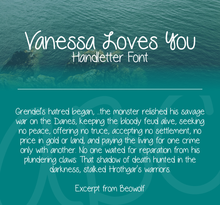 Download Font Handletter Tulisan Tangan Terbaik - Vanessa Loves You