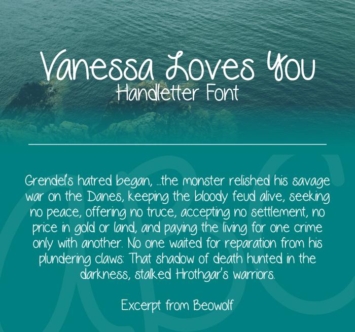 Download Font Handletter Tulisan Tangan Terbaik - Vanessa Loves You