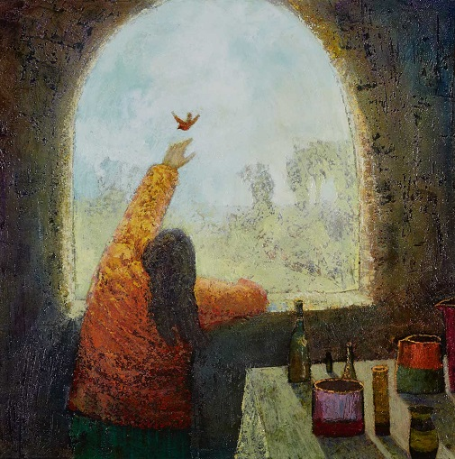 """The Window"" painting by Simon Garden - oil on panel, 2017 