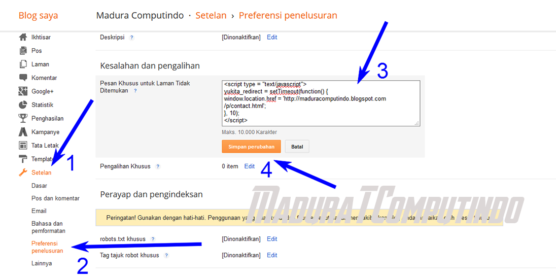 Cara Redirect Page Not Found Blogger ke Halaman Lain