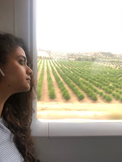 Mana Keerthy Suresh: Keerthy Suresh with Cute and Awesome Expressions in The Train at Barcelona Madrid