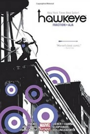 Cover of Hawkeye omnibus, featuring stark black and white illustration of a white man firing an arrow while perched on a roof. Circles in various shades of purple surround him.