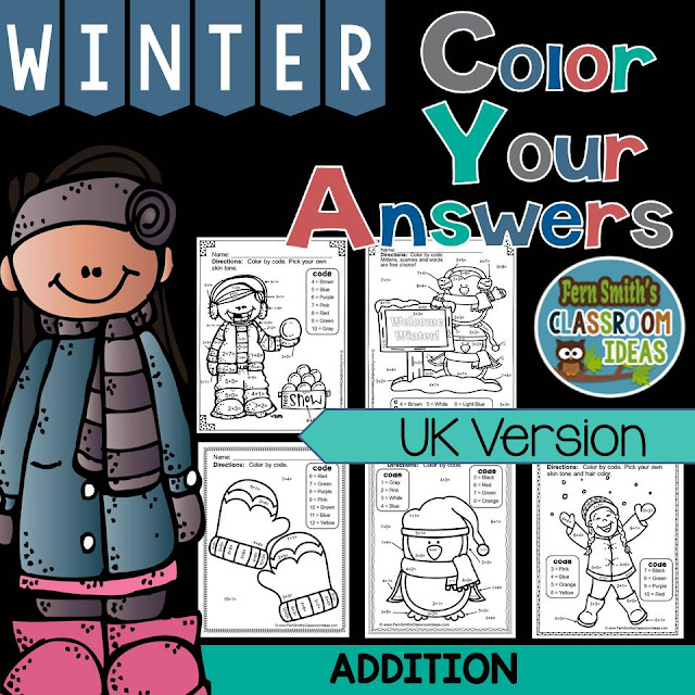 Fern Smith's Classroom Ideas Winter Fun! Basic Addition Facts - Color Your Answers Printables at TeacherspayTeachers, TpT.