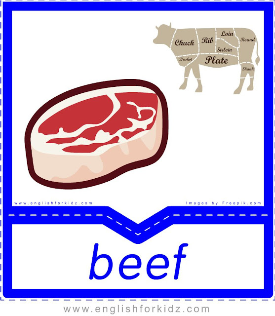 Beef - English food flashcards for ESL students
