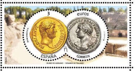 Áureo de Adriano y Denario de Trajano