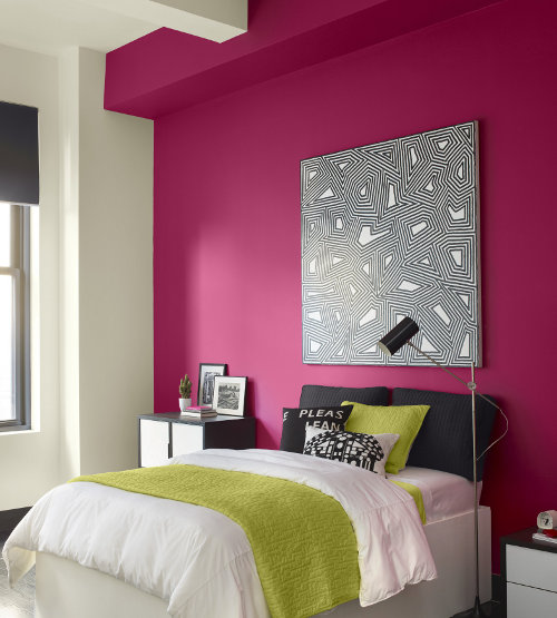 Pinta una pared en el dormitorio - De que color pintar una habitacion ...