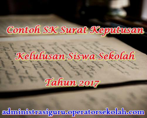 Contoh SK Surat Keputusan Kelulusan Siswa Sekolah Tahun 2017