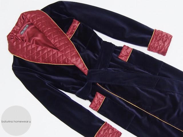 Gentleman's velvet robe men's quilted shawl collar dressing gown