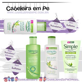 Sabonete Facial em Gel, Tônico, Água Micelar e Hidratante Simple (Produtos sem sulfatos e sem petrolatos)