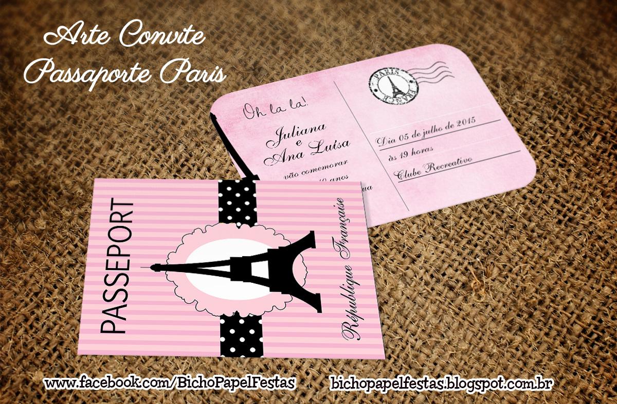 Bicho Papel Arte Convite Passaporte Paris Envelope