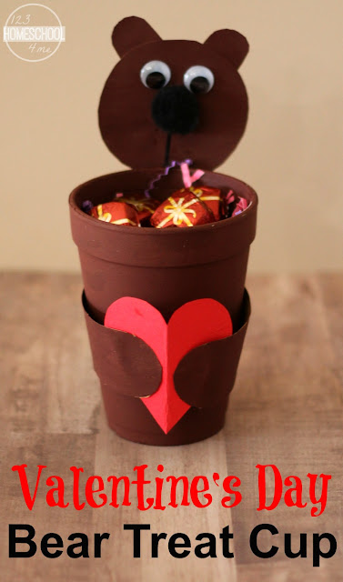 Valentines Day Bear Treat Cup is a super cute, easy, and fun to make valentiens day craft for kids from toddler, preschool, to kindergarten age.  Fun to make at school or home to hold treats, pencils, little valentines and more