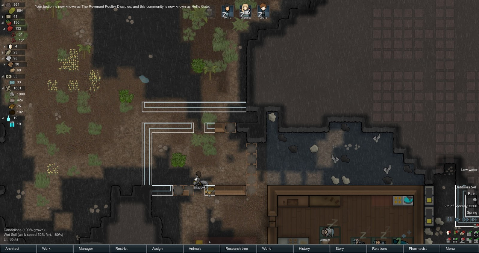 Space Gaming Fun Time: Rimworld: The Great Chicken Cult, Part 1: At