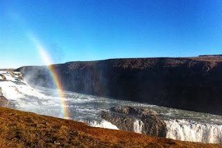 Rainbow over the Gullfoss waterfall