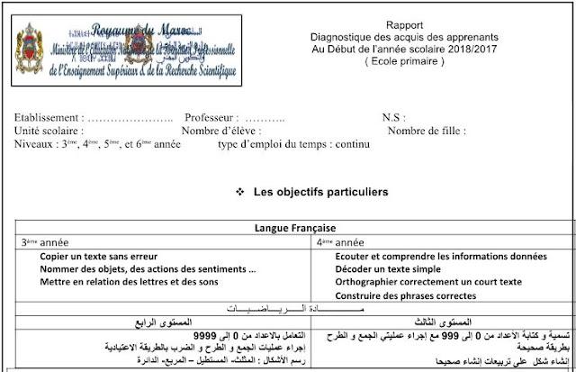 تقرير التقويم التشخيصي بالفرنسية قابل للتعديل.docx