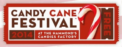 Hammond's Candies 13th Annual Candy Cane Festival, December 12-13, in Denver, Colorado. Free.