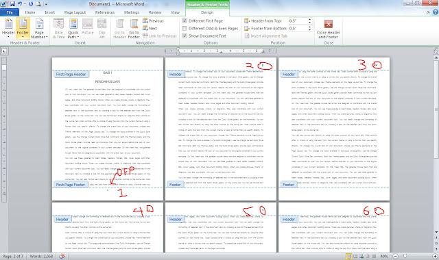 Cara Membuat Page Number Berbeda Halaman Pertama Dalam Satu Document di Ms Office Word / Different First Page