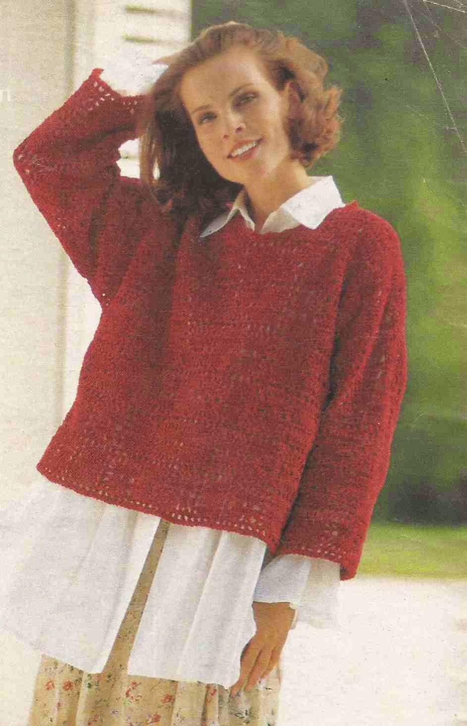 Suéter o Jersey de Cuadros Rojos a Crochet
